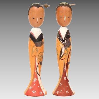 Japanese Kokeshi Geisha Wood Dolls with Movable Heads, Signed