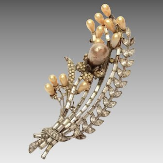 "4"" Staret Pin with Rhinestones & Faux Pearls, For Repair"