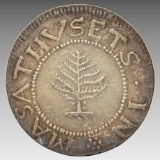Becker 1652 Pine Tree Shilling Repro Coin, Peter Rosa Replica