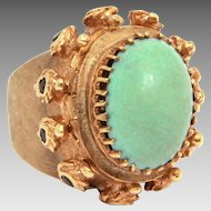 14k Gold Poison Ring, Persian Turquoise Sapphires Cocktail Ring, Size 5 1/2