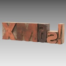 Xmas! Letterpress Letters, Carved Wood Printing Press Type, Christmas Decoration