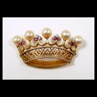 Royal Crown Brooch with Ruby, Diamond, Pearl in 18kt. Gold c. 1956