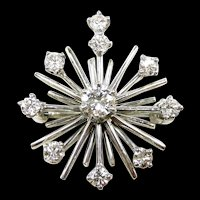 Dynamic Mid Century Atomic Age Diamond Pendant Brooch c. 1950