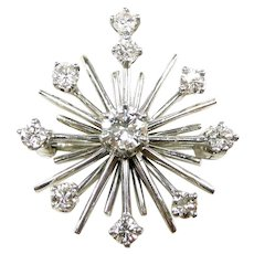 Dynamic Mid Century Atomic Diamond Pendant Brooch c. 1950