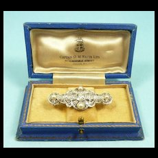 Exquisite Edwardian Platinum Diamond and Natural Pearl Brooch c. 1910