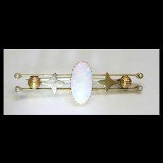 Amazing Australian Opal and Pearl handmade Brooch c. 1880