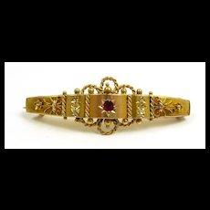 Interesting Etruscan Revival Diamond Garnet Hanky Holder Brooch c. 1880