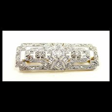 Enticing Edwardian Diamond Filigree Buckle Brooch c. 1910