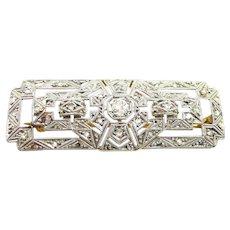 Enticing Edwardian Diamond Filigree Buckle Brooch c. 1910