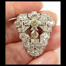 Unbelieveable Deco Platinum Diamond Dress Clip c. 1930