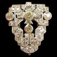 Unbelieveable Art Deco Platinum & Diamond Dress Clip c. 1930