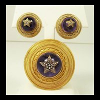 Amazing Archaeological Revival Swedish 18kt. Gold, Amethyst & Diamond Demi Parure c. 1867