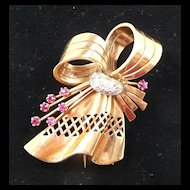 Marvelous Retro Modern 18kt. Rose Gold, Diamond and Ruby Dress Clip Brooch c. 1940