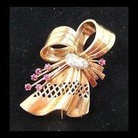 Marvelous Retro Modern 18kt. Rose Gold, Diamond and Ruby Dress Clip Brooch c. 1940