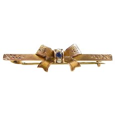 Darling Victorian Engraved Bow Brooch c. 1851