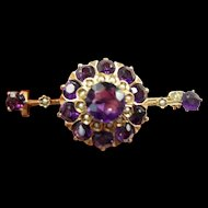 Vibrant Victorian Amethyst and Pearl Bar Brooch  c. 1890
