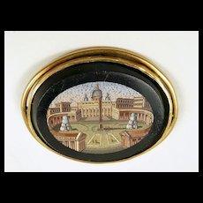 Fascinating Grand Tour Vatican MicroMosaic Brooch c. 1870