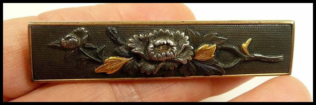 Antique Japanese Shakudo Happiness Brooch In Mixed Metals