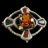 Striking Scottish Victorian Cairngorm Bloodstone and Agate Brooch c.1880