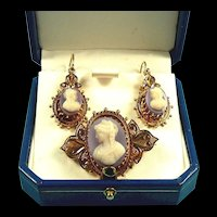 Voluptuous Victorian Sardonyx Cameo Earrings & Brooch Demi-Parure c. 1870