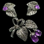 Jugendstil Silver Amethyst Brooch & Earrings Demi Parure c. 1935