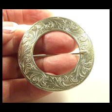 Enchanting Engraved Edwardian Paye and Baker Buckle Brooch c. 1910
