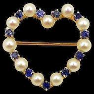 Lovely Art Nouveau Montana Sapphire, Pearl Token Brooch c. 1900