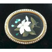 Perfect Pietra Dura Victorian Brooch with Natural Pearls c. 1870