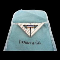 Stunning Estate Tiffany and Company Gold and Sterling Sapphire Triangle Pin
