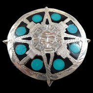 Mysterious Mayan Sterling Sun Disc Pendant Brooch with Enamel and Turquoise mexican Eagle Mark #28 pre-1980