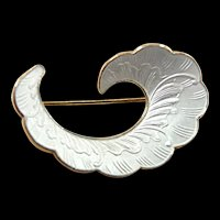 Sinuous Vintage Ivar T. Holth Sterling and Enamel Wave Brooch c. 1950