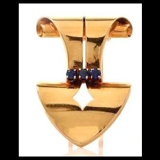 Tantalizing Tiffany and Co. Sapphire and Gold Vintage Dress Clip c. 1940-1950