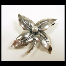 Fabulous Floral N. E. From Mid-Century Modern Denmark Brooch c. 1950
