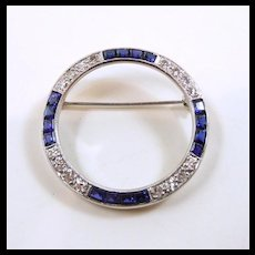 Captivating Art Deco Diamond and Sapphire Circle Brooch c. 1920