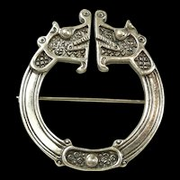 Vintage Ola M. Gorie Viking Dragon Brooch Edinburgh c. 1986