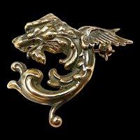 Garrulous Griffin Dragon Art Nouveau Brooch c. 1890