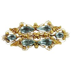 Georgeous Georgian Cannetille Aquamarine Brooch c. 1820