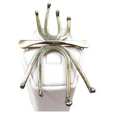 """Sophisticated Ed Levin Vintage Artisan """"Spider"""" Brooch c. 1955"""