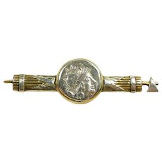Ancient Republic of Rome Coin Handmade Brooch with Fasces c.200BC