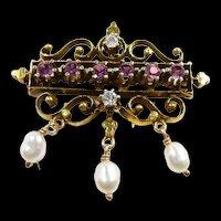 Lovely Vintage Victorian Style Amethyst Diamond Pearl Brooch c. 1945