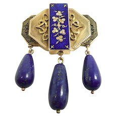 Vibrant Victorian Lapis Enamel and Pearl Brooch c. 1870