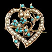 Lovely Victorian Heart Pendant Brooch Pearls Turquoise c. 1890