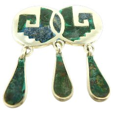 Eye Catching Mosaico Azteca Dangle Brooch c. 1950