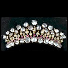 Extraordinary Crown Diamond Ruby Moonstone Brooch c. 1850