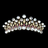 Extraordinary Crown Diamond Ruby Moonstone Brooch c. 1850