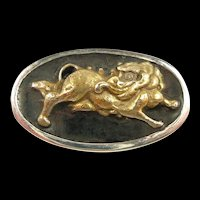 Artisan Hand Crafted Brooch with Antique Foo Dog Menuki