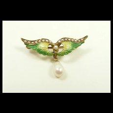 Winning Enamel Wings Brooch c. 1890