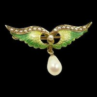 Winning Enamel Wings Brooch c. 1890