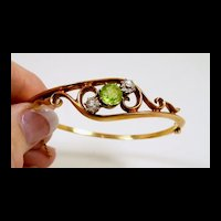 Classically Elegant Victorian Peridot Bangle Bracelet c. 1880