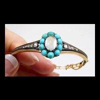 Charmant French Gold Moonstone Turquoise Diamond Bracelet  c. 1870